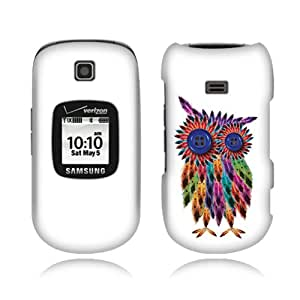 Fincibo (TM) Samsung Gusto 2 U365 Premium Hard Plastic Snap On Protector Cover Case - Feather Owl, Front And Back