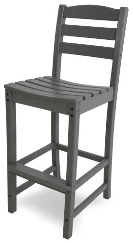 POLYWOOD TD102GY La Casa Caf Bar Side Chair, Slate Grey