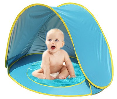 Baby Beach Tent Pool UV Protection Sun Shelter Pop Up for Kids - Blue Green