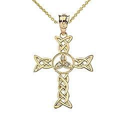 Gold Diamond-Accented Celtic Cross Pendant Necklace