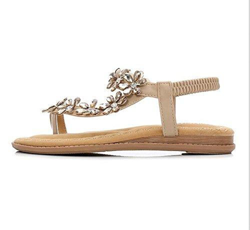 Rhinestone Thong Flat Sandals Women's Luhaixiang Bohemia Style Ethnic Comfortable xEZqXTUw