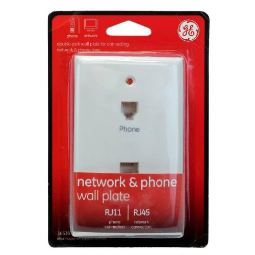GE Network & Phone Jack Wall Plate Duplex Modular RJ45 and RJ11-36536 ()