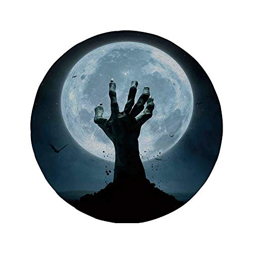(Non-Slip Rubber Round Mouse Pad,Halloween Decorations,Zombie Earth Soil Full Moon Bat Horror Story October Twilight Themed,Blue)