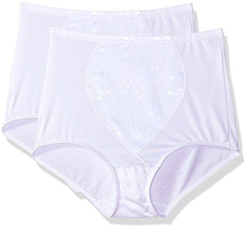 Bali Women's Shapewear Tummy Panel Brief Firm Control 2-Pack, White Jacquard/White Jacquard, Medium