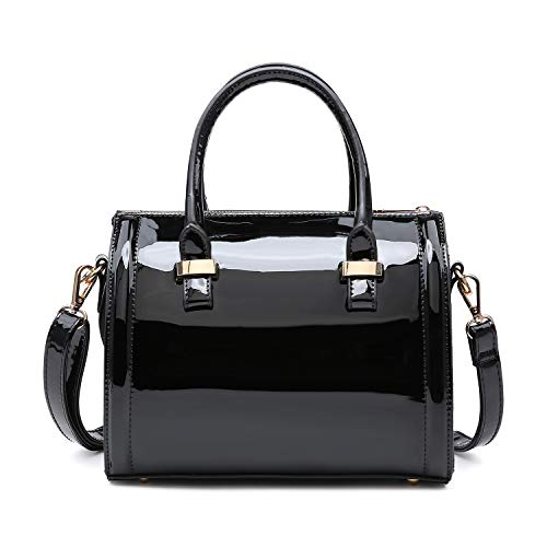 Dasein Shiny Patent Faux Leather Mini Barrel Body Satchel Handbag Shoulder Bag - Yellow
