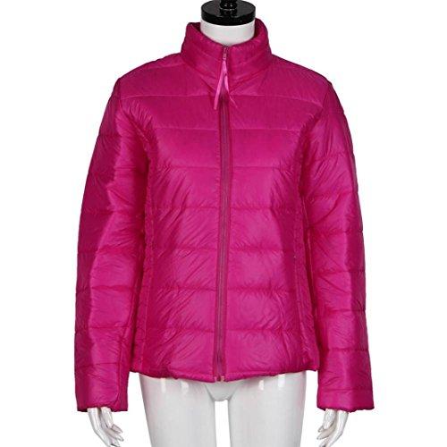 Tefamore Sudadera Mujer Windbreaker de Manga Larga Capa Abrigo De Cremallera Otoño e invierno de Grueso Outwear Chaqueta Ropa de Moda Rosa caliente