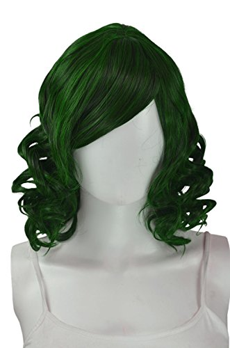 [Epic Cosplay Diane Shadow Green Short Curly Anime Wig 12 Inches (24SHG)] (Short Green Wig)