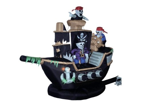 Blow Up Halloween Pirate Ship (BZB Goods 7 Foot Halloween Inflatable Skeletons Ghosts on Pirate Ship Lights Decor Outdoor Indoor Holiday Decorations, Blow up Lighted Yard Decor, Lawn Inflatables Home Family)