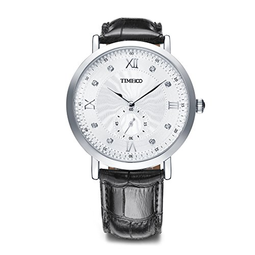 Time100 Men's Fashion Calfskin Leather Band Luminous Hands Analog Quartz Watch #W80097G.01A by TIME100