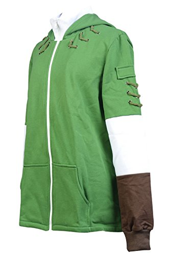 Ya-cos The Legend of Zelda Link Hooded Coat Sweatshirt with Minish Cap Costume Green by Ya-cos (Image #2)