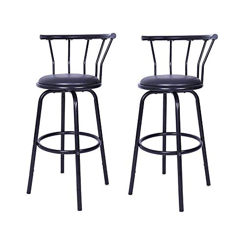 WensLTD 2019 Mordern Vintage Wrought Iron 360 Degrees Rotating High Stool Bar Chair Steel Counter Height,Set of 2,Black (Ship from US!!!) - Wrought Iron Furnishings
