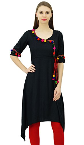 Pom Designer Tunique Noir Top Kurta Vtements Rayon Style Femmes Phagun Indian Pom Kurti Angrakha wxI0Onq1
