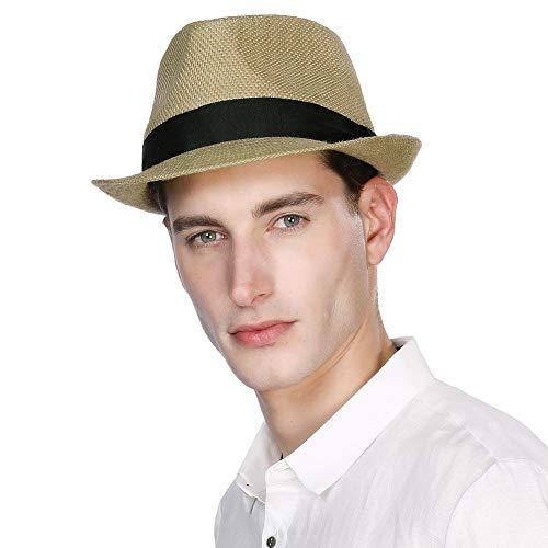 Plaid Straw Fedora - Womens Mens Straw Cuban Fedora Brim Panama Beach Havana Summer Sun Derby Hat Party Lady Brown Large