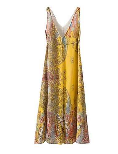 PU&PU Robe Aux femmes Gaine Street Chic,Imprimé Col en V Midi Polyester , yellow-l , yellow-l