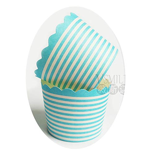 Culturemart 50pcs Colorful Striped Paper Cupcake Wrapper Icecream Baking Muffin Cups Cases Wedding/Baby Shower/Birthday Party Decoration