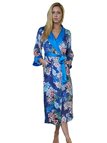 Luxury Dynasty Silk (Dynasty Robes 100% Silk, Women's Printed Long Robe With Shawl Collar-Blue Sakura)
