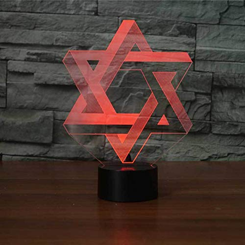 HIOJDWA Night Light Led 7 Colors Change Mood Table Lamp USB Bedroom 3D Star of David Modelling Night Lights Sleep Lighting Fixtures Home Decor Gifts