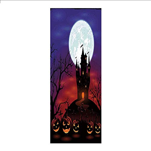 3D Decorative Film Privacy Window Film No Glue,Halloween Decorations,Gothic Haunted House Castle Hill Valley Night Sky October Festival Theme,Multi,for Home&Office]()