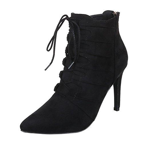 Ital-Design High Heel Stiefeletten Damen Schuhe Schlupfstiefel Pfennig-/Stilettoabsatz Schnürer Reißverschluss Stiefeletten Schwarz