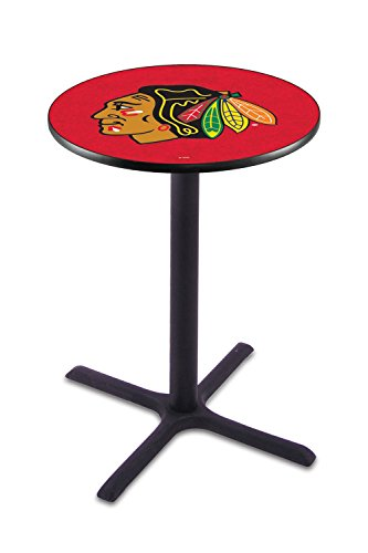 Chicago Blackhawks NHL Black Wrinkle Bar Table with Cross Base