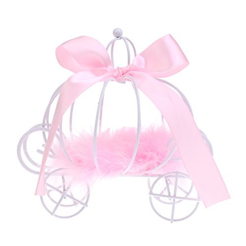 Pink Carriage - Baoblaze Princess Carriage Candy Box for Christams Party Sweets - pink, as described