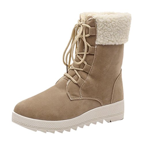 Up Women Kanzd Boots Winter Khaki Boots Ladies Warm Calf Shoes 35 Lace Winter Boots Soft Black Mid Warm Frrdqw