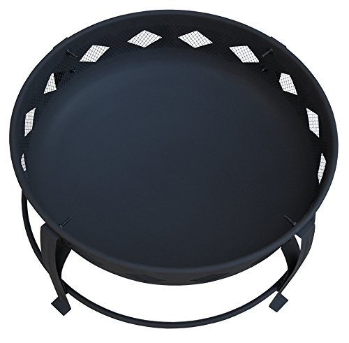Landmann USA 21860 Bromley Fire Pit, Black - 7 inch deep fire bowl keeps wood contained Diamond cutouts enhance the fire Decorative legs - patio, outdoor-decor, fire-pits-outdoor-fireplaces - 41tEv2Q9ccL -