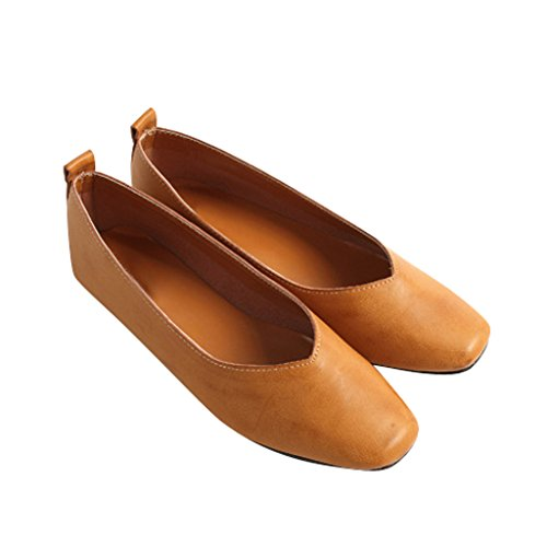 Time Women Solid Ballet Toe Pointed Vintage Flats Yellow Loafers Dear EOdq1O