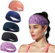 NNAA Headbands for Women Athletic Non Slip Women Headbands Workout Moisture Wicking Hair Band for Sports Pack
