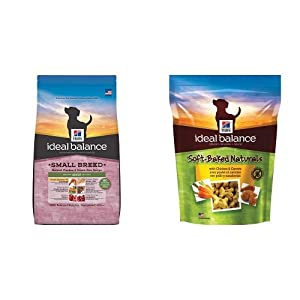 Hill's Ideal Balance Adult Small Breed Natural Chicken & Brown Rice Recipe Dry Dog Food (4 pound bag) and Soft-Baked Naturals with Chicken & Carrots Dog Treats (8 oz bag)