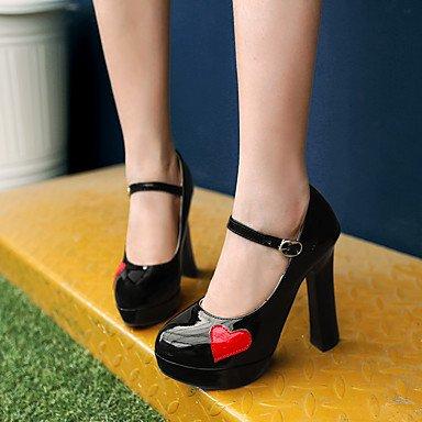 Le donne sexy elegante sandali donna tacchi Primavera Estate Autunno Comfort cinturino alla caviglia in pelle di brevetto party di nozze & abito da sera Chunky Heel Applique BuckleBlack bianco , nero