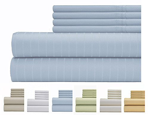 (Weavely Sheet Set - 700 Thread Count Cotton-Poly Blend Bed Sheet, Pin Stripe 6 Piece Bedding Set, Hotel Quality Sheet Set with 2 Bonus Pillow Cases, 15 inch Elastic Deep Pocket Fitted Sheet -Full-Blue)