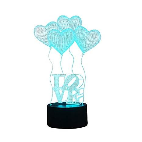 3D lámpara LED luz de la noche cuatro corazón AMOR color táctil lámpara de mesa lámpara