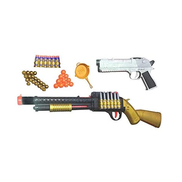 nandani enterprises PubG Theme Gun Toys Set with Assault Rifle, Toy Knife, Water and Soft Foam Bullets and Combat Cards Target Shooting Role Play Game for Kids