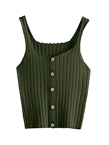 (SweatyRocks Women's Sleeveless Vest Button Front Crop Tank Top Ribbed Knit Belly Shirt Army Green One Size)