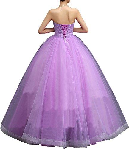 Partykleider Bodenlang Suess Ivydressing Promkleider Traegerlos Abendkleider mit Damen Bildfarbe Ballkleider Organza Blumen Schnuerung SqP0PFR