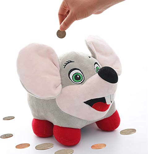 - Toy Amigo Funny Talking Mouse Plush Piggy Bank with Light-up Cheeks | Savings/Coin/Money Box for Kids | Large Stuffed Animal with Plastic Tank Inside Décor for Any Nursery Or Kid's Room