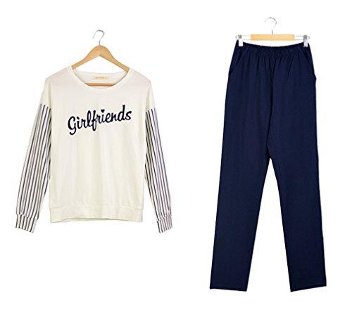 BININBOX Damen Schlafanzug Pyjama Nachtanzug Hausanzug 95% Baumwolle langarm und Lange Hose Weiß Dunkelblau Streifen