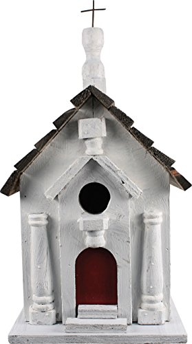 (Songbird Essentials 008119 River Road Church Birdhouse White)