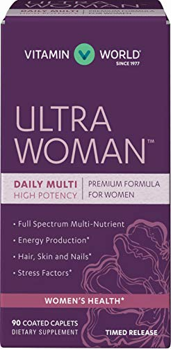 Vitamin World Ultra Woman Daily Multivitamins 90 Caplets, High-potency, Full-spectrum, Energy Production, Hair, Skin and Nails, Timed-Release, Coated