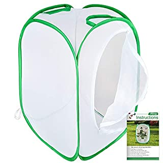 Pllieay Collapsible Insect and Butterfly Habitat Net with Instructions 23.6 inches Tall White Kids Butterfly Net