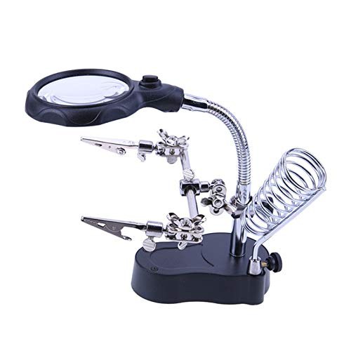- 12x & 3.5X LED Magnifying Glass Lens Workstation Helping Hand Magnifier Tool Soldering Iron Stand Flexible Alligator Clip Clamps Light Battery Powered (not Included) (Black)