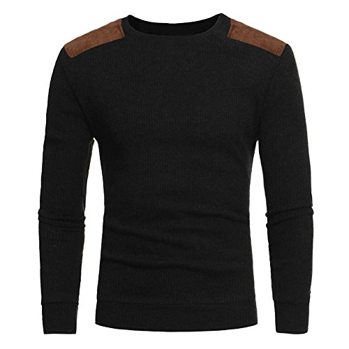 Sunhusing Men's Casual Round Neck Knit Sweater Top Fashion Autumn Patchwork Knitwear Pullover Shirt]()