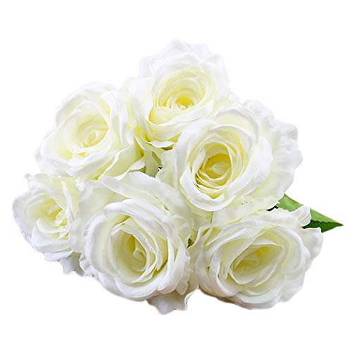 (SANGQU 1Pcs 6 Heads Artificial Fake Flowers Rose Floral Real Touch Looking Silk Cloth Material for Party Wedding Decor, Garden Craft Art,Office Centerpiece Home Decor(Vase not Included))
