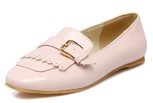 Odomolor Women's Low-Heels Square-Toe Solid Pull-On Pumps-Shoes, Pink, 34