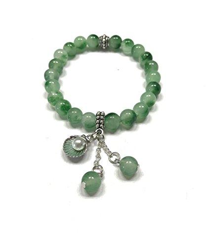 Natural Green Jade Stone and Cute Sea Shell Charm Bracelet. Stretch. Heart Chakra. Dream (Green Precious Stone)