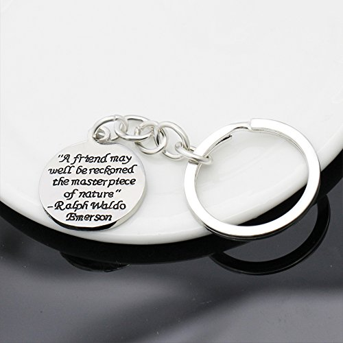 A friend may well be reckoned the masterpiece of nature - Double Side Key Chain Ring BBF Best Friend Gift Photo #5