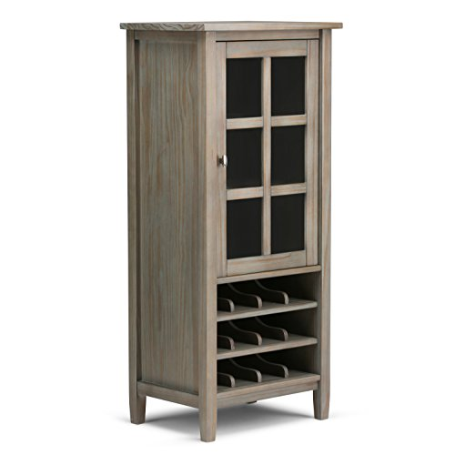 Simpli Home Warm Shaker Solid Wood High Storage Wine Rack, Distressed Grey