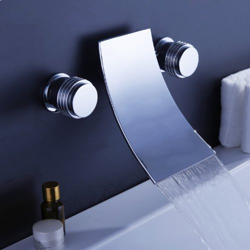 Lightinthebox Contemporary Wall Mount Double Handle Brass Bathroom Sink Bathtub Faucet Mixer, Chrome Finish Stainless Steel Brass Ceramic Valve