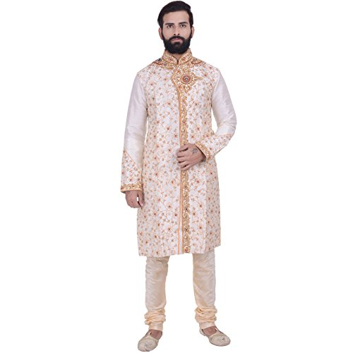 Rajwada Men's Ethnic Indian Designer Kurta 2pc Suit (Large (40), Off-White) (Designer Churidar Suits)